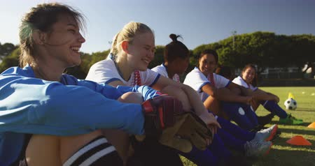 jogador de futebol : Side view of happy diverse female soccer players sitting on the ground while talking on soccer field. 4k