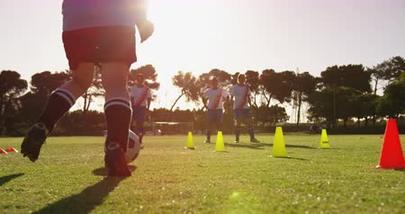 усилие : Rear view of diverse female soccer player training with slalom on soccer field 4k