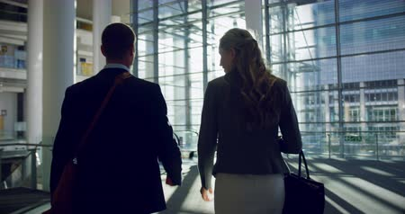 resmi bir takım : Rear view Businessman and businesswoman walking together in the lobby at office. They are interacting with each other 4k