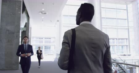 etnia africano : Rear view of African American Businessman walking in the corridor at office. He is looking away 4k