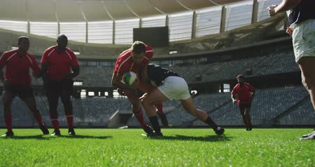 adversaire : Front view of diverse rugby players playing rugby match in stadium. They are tackling each other 4k Vidéos Libres De Droits