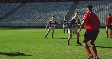 teljes hosszúságú : Front view of diverse rugby players playing rugby match in stadium, They are tackling each other 4k
