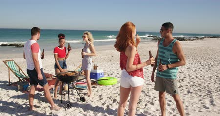 teljes hosszúságú : Full length view of a multi-ethnic group of young adult friends standing on a beach having a barbecue, talking and drinking beers. Young friends having summer fun on the beach together 4k