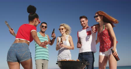 roupa de praia : Low angle close up of a multi-ethnic group of young adult friends setting up a camera to take a selfie, standing on a beach having a barbecue and drinking beers. Young friends having summer fun on the beach together 4k