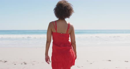 turning off : Close up back view of a young African American woman walking on a beach, raising her arms and turning her face up to the sun 4k