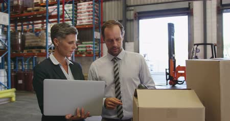 paket : Front view close up of a middle aged Caucasian male and middle aged Caucasian female warehouse manager, standing by a stack of boxes in a warehouse loading bay using a laptop and a barcode scanner together, talking and smiling. They are working in a freig Stok Video