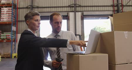 engradado : Front view close up of a middle aged Caucasian male and middle aged Caucasian female warehouse manager, standing by a stack of boxes in a warehouse loading bay using a laptop, pointing to shelves and talking. They are working in a freight transportation a Stock Footage