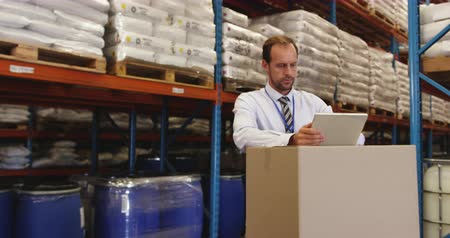 concentrar : Middle aged Caucasian male warehouse manager using tablet computer in a warehouse loading bay, while staff pass by carrying boxes. They are working in a freight transportation and distribution warehouse. Industrial and industrial workers concept 4k