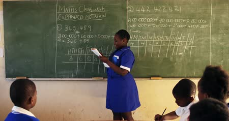 cape town : Side view of a young African schoolgirl standing at the front of the class reading from a book she is holding, pointing to the blackboard and talking to the class during a lesson in a township elementary school classroom. In the foreground her classmates