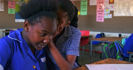 spolužák : Side view close up of two young young African schoolgirls sitting at their desk whispering to each other during a lesson in a township elementary school classroom. In the background their classmates are listening to the teacher 4k