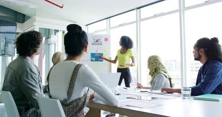 ügynökség : Front view of a young mixed race female creative giving a presentation applauded by a group of young multi-ethnic creative colleagues at a meeting in a modern office