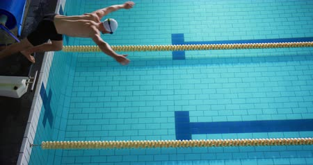 calções de banho : High angle side view of a young Caucasian male swimmer training in a swimming pool, jumping into water Vídeos