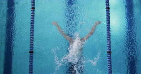 calções de banho : Overhead view of a young Caucasian male swimmer training in a swimming pool, butterfly Vídeos