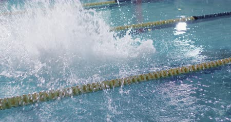 calções de banho : Side view of a young Caucasian male swimmer training in a swimming pool, jumping into water Vídeos