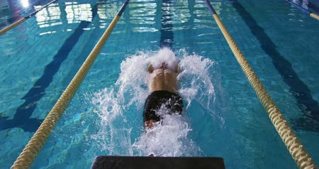 calções de banho : Front view of a young Caucasian male swimmer training in a swimming pool, pushing off the wall to swim backstroke Vídeos