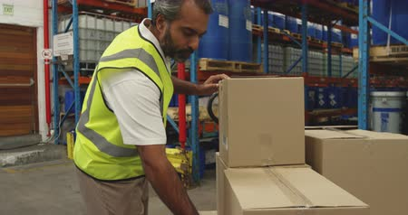 dağıtım : Side view close up of a middle aged mixed race male warehouse worker scanning a label on a box with a barcode reader in a warehouse loading bay and then carrying the box away
