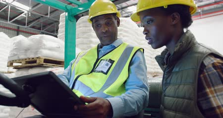vorkheftruck : Side view close up of a young mixed race female warehouse worker and a middle aged mixed race male warehouse manager holding a tablet computer talking in a warehouse loading bay