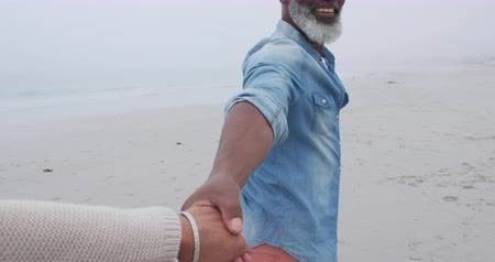 companionship : Side view close up of a mature mixed race man walking holding the hand of a woman and smiling on a beach by the sea