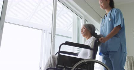 paraplegic : Side view of a young mixed race female nurse pushing a mature mixed race woman in a wheelchair to look out of the window