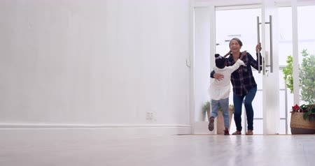 front door : Front view of a mature mixed race woman coming home and being greeted by her young granddaughter jumping into her arms