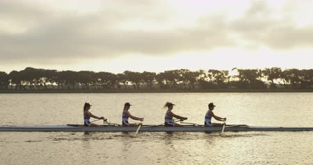 evezős : Side view of a team of four young adult Caucasian women rowing in a racing shell on a river
