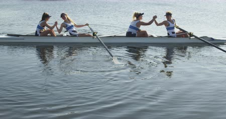 evezős : Side view of a team of four young adult Caucasian women in a racing shell on a river hih fiving and shaking hands during training