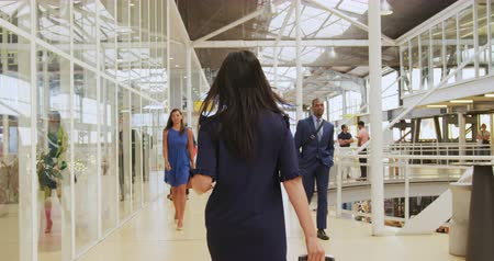 delegate : Rear view of a businesswoman walking through a modern foyer to a business conference wheeling a suitcase. Other business people walk past and walk around in the background