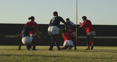 rugby shirt : Rear view of a group of young adult multi-ethnic female rugby players running on the pitch during a rugby match, and one player bringing another down with a tackle