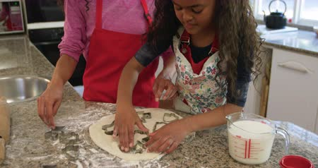 peperkoek : Front view close up of a mixed race mother in a kitchen with her young daughter at christmas making cookies, cutting shapes in the dough with a cookie cutter and smiling to each other