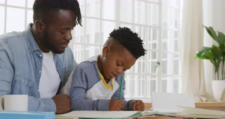 brim : Side view of a millennial african american father and his young son sitting at a table at home together, father helping his son with homework