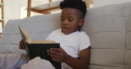 depilada : Front view of a young African American boy at home sitting on the sofa in his sitting room quietly reading a book on his own Archivo de Video