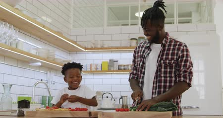 placa : Front view of a smiling millennial african american father and his young son preparing food together in the kitchen at home, chopping vegetables and laughing, slow motion