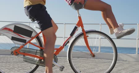kiegyensúlyozó : Side view of a happy young adult Caucasian couple having fun riding on a bicycle on a promenade on a sunny day by the sea, the man pedalling while the woman sits on the handlebars with her legs raised, slow motion