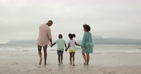 пляжная одежда : Rear view of an African American couple walking on a beach towards the sea holding hands with their young son and daughter between them, slow motion Стоковые видеозаписи
