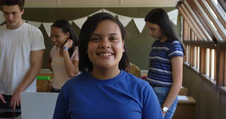 recess : Portrait close up of a teenage mixed race girl with dark hair and brown eyes standing in a school classroom smiling to camera, with classmates talking in the background, slow motion Stock Footage