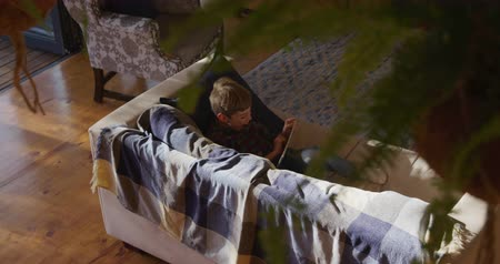 reclináveis : High angle view of a Caucasian boy at home in the living room, reclining on a sofa in the sun using a tablet computer, slow motion