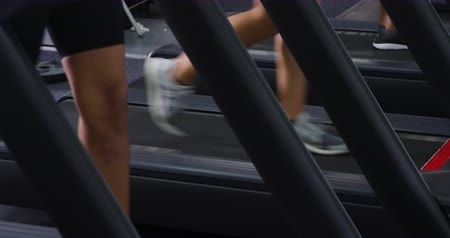 four legs : Low section side view of three women wearing sports clothes exercising at a sports centre gym walking on treadmills at different paces and speeds