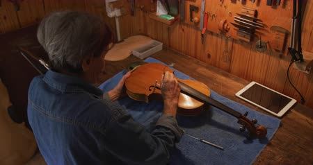 vocação : Elevated side view of a senior Caucasian female luthier working on a violin at a workbench in her workshop, and inspecting the inside of the body with a small handheld mirror, a tablet computer in front of her and tools hanging up on the wall in the backg Vídeos