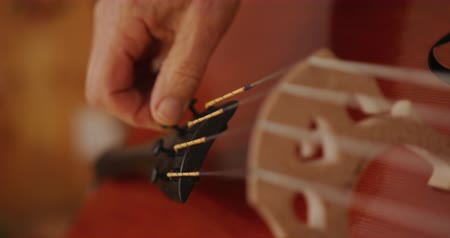 селективный : Side view close up of the hand of a senior Caucasian female luthier adjusting the fine tuners of a cello on a workbench in her workshop, selective focus, slow motion