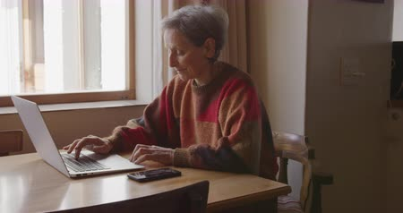 mindennapi : Side view close up of a senior Caucasian woman with short grey hair at home in her dining room, sitting by the window at the dining table, using a laptop computer and concentrating, her smartphone beside her, slow motion Stock mozgókép