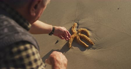 etoile de mer : Over the shoulder view of a senior Caucasian man exploring alone on a beach, squatting and reaching down to touch a starfish on the sand, slow motion