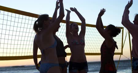 volleyball players : Female volleyball players giving high five to each other in the beach 4k