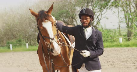 dizgin : Front view of a smartly dressed African American man wearing a riding hat, holding the reins standing beside his Dressage horse and stroking it in a paddock, slow motion Stok Video