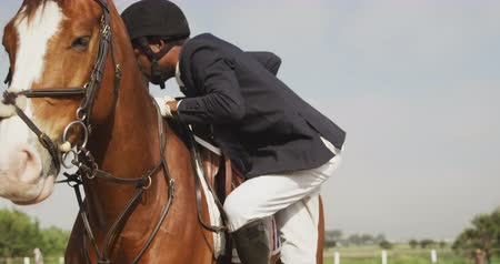 fegyelem : Side view of a smartly dressed African American man wearing a riding hat getting on his Dressage  horse in a paddock, slow motion Stock mozgókép
