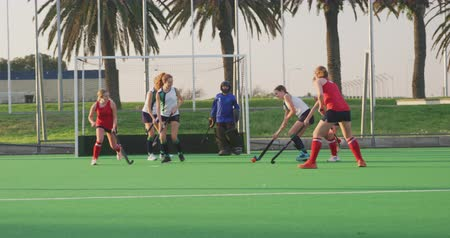 amontoado : Side view of players from two teenage Caucasian female hockey teams in action on the pitch during a hockey match at a sports stadium, slow motion Stock Footage