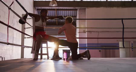 ajoelhado : Side view of a mixed race female boxing coach with short curly hair kneeling and talking to a mixed race female boxer wearing boxing gloves and red boxing shorts, sitting in the corner of a boxing ring resting during training, backlit, slow motion