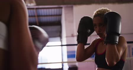 átlyukasztás : Side view close up of two mixed race female boxers, one with short curly hair and one with long, dark plaited hair, boxing in a boxing ring at a boxing gym, slow motion