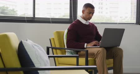 lobi : Side view of a mixed race man working in a creative office, sitting in an armchair in a lobby, using a laptop computer Stok Video