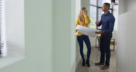 akkoord : Front view of a Caucasian woman and mixed race man working in a creative office, looking at architectural plans, standing in a corridor, discussing and shaking hands Stockvideo