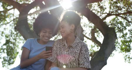 companionship : Low angle front view of two mixed race women enjoying free time in a urban park on a sunny day together, using smartphone, sharing earphones and listening to music, slow motion